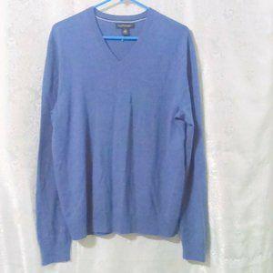 Banana Republic 100% Extra Fine Merino Wool Blue V Neck Sweater